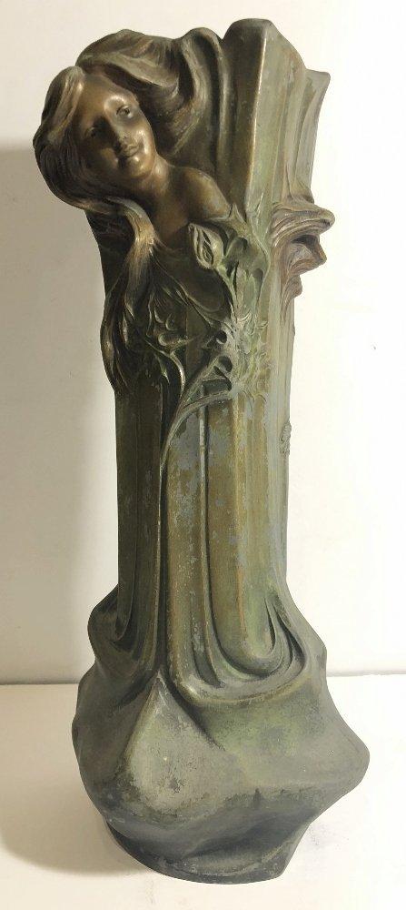 Spelter Art Nouveau vase, womans face, c.1890