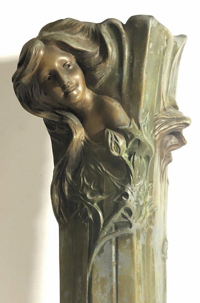 Spelter Art Nouveau vase, womans face, c.1890 - 3