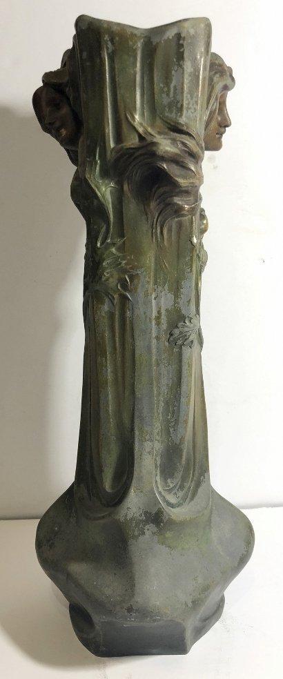 Spelter Art Nouveau vase, womans face, c.1890 - 4