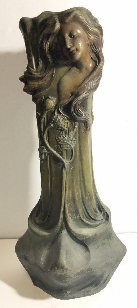 Spelter Art Nouveau vase, womans face, c.1890 - 5