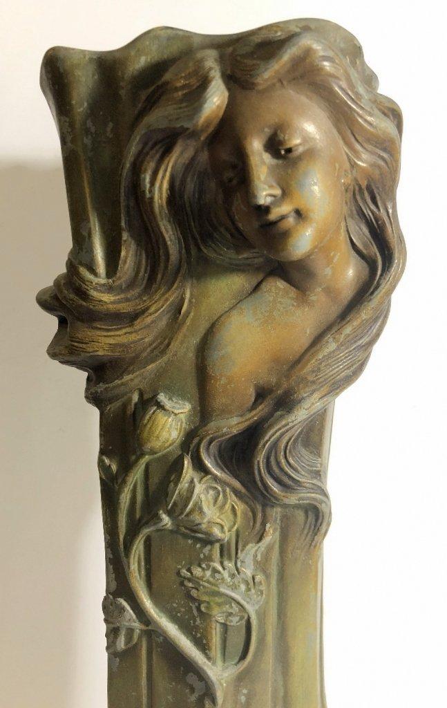 Spelter Art Nouveau vase, womans face, c.1890 - 6