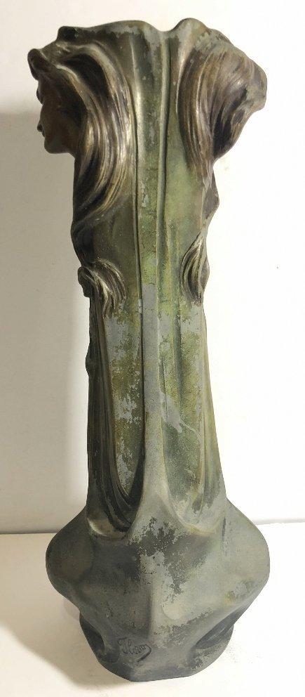 Spelter Art Nouveau vase, womans face, c.1890 - 7