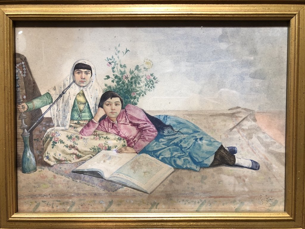 Watercolor of two Persian women, c.1930, signed