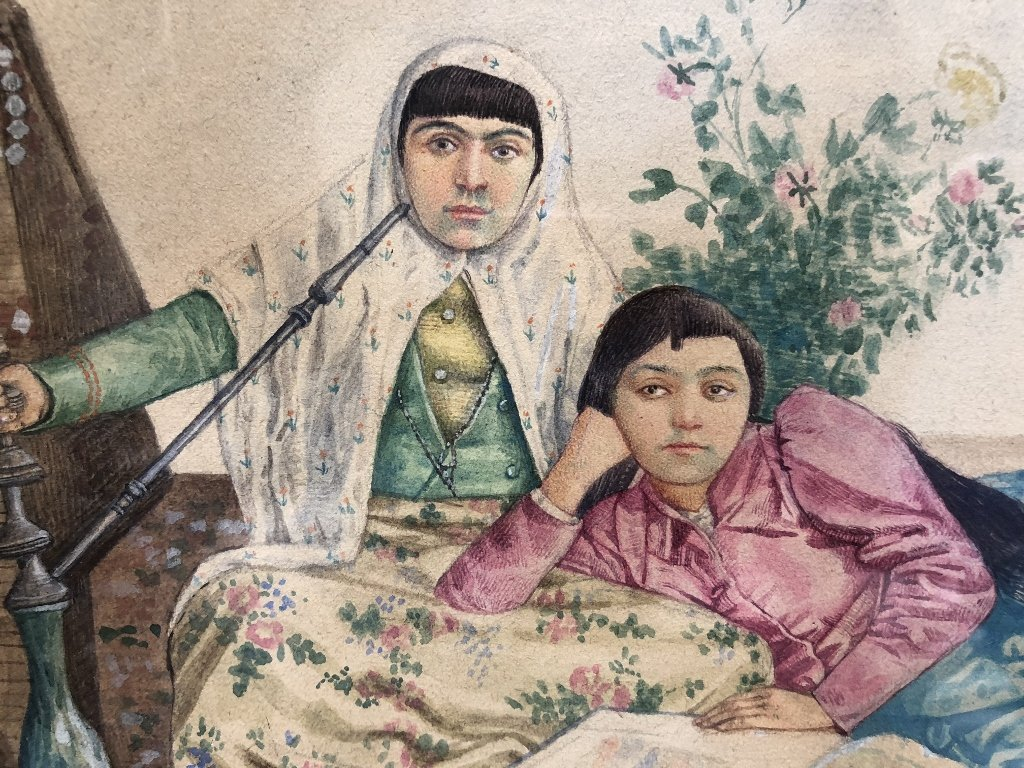 Watercolor of two Persian women, c.1930, signed - 2