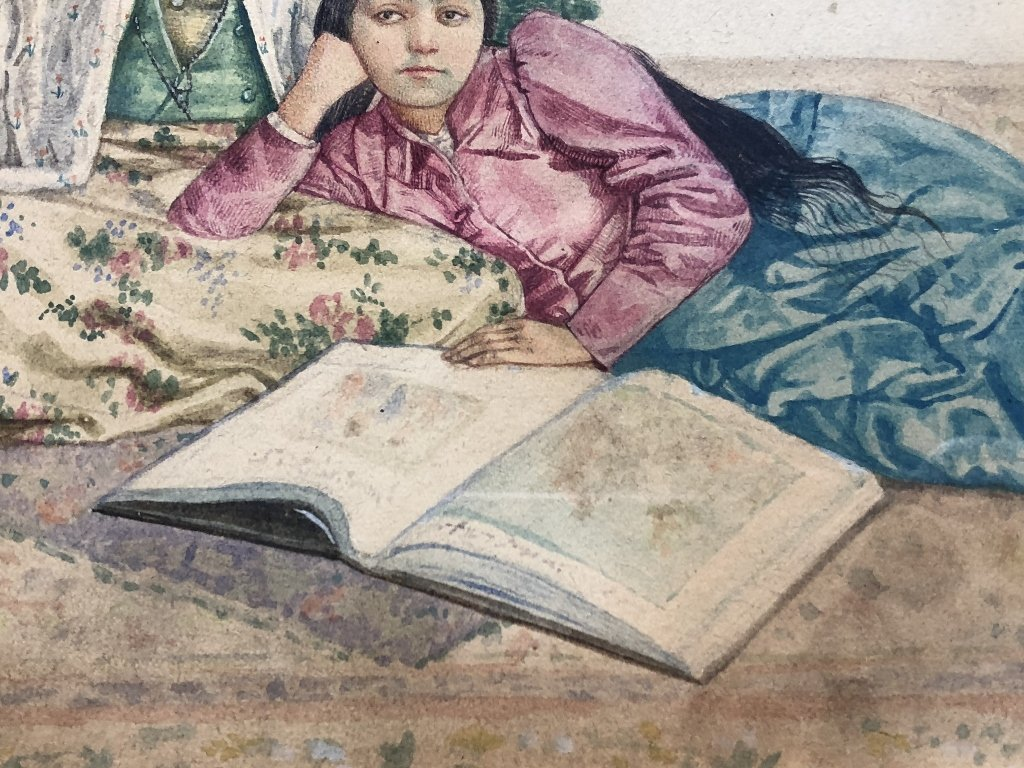 Watercolor of two Persian women, c.1930, signed - 4
