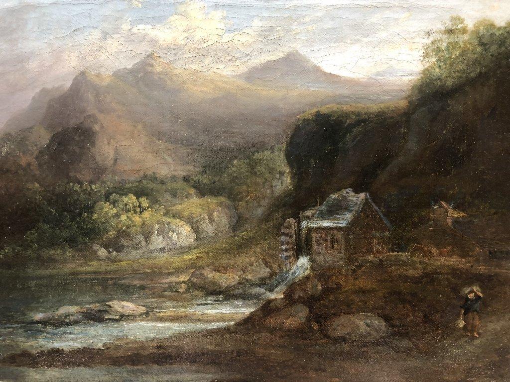 Painting European village, signed illegibly, c.1880