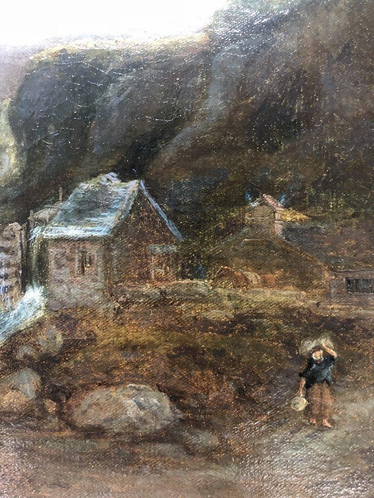 Painting European village, signed illegibly, c.1880 - 4