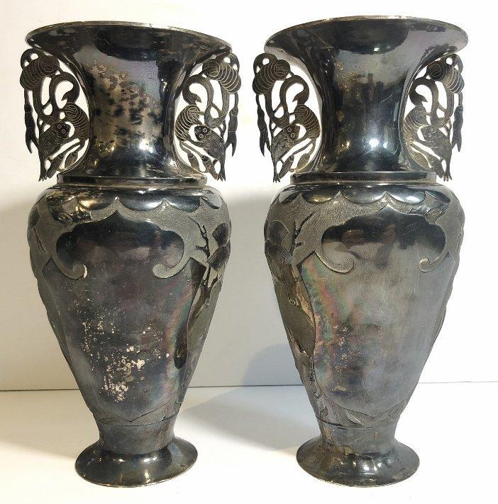 Pair Chinese silver vases, c.1850,Heng Li Jin Dian - 10