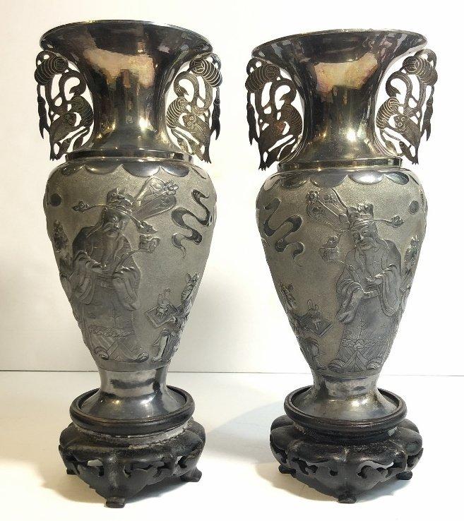 Pair Chinese silver vases, c.1850,Heng Li Jin Dian