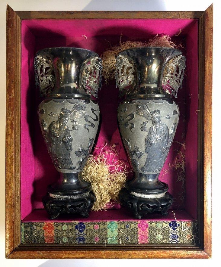 Pair Chinese silver vases, c.1850,Heng Li Jin Dian - 6