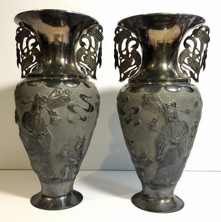 Pair Chinese silver vases, c.1850,Heng Li Jin Dian - 8