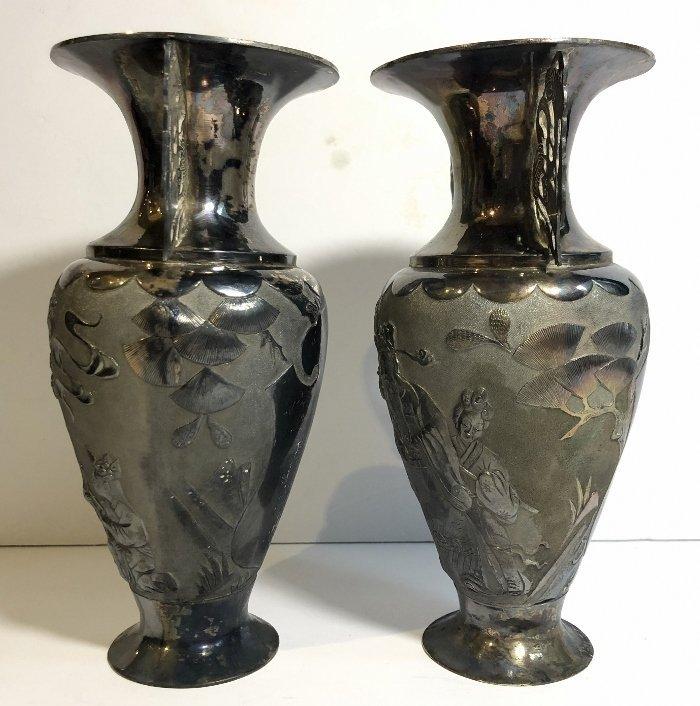 Pair Chinese silver vases, c.1850,Heng Li Jin Dian - 9