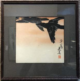 Crows in FlightJapanese printShibata Zeshin 1887