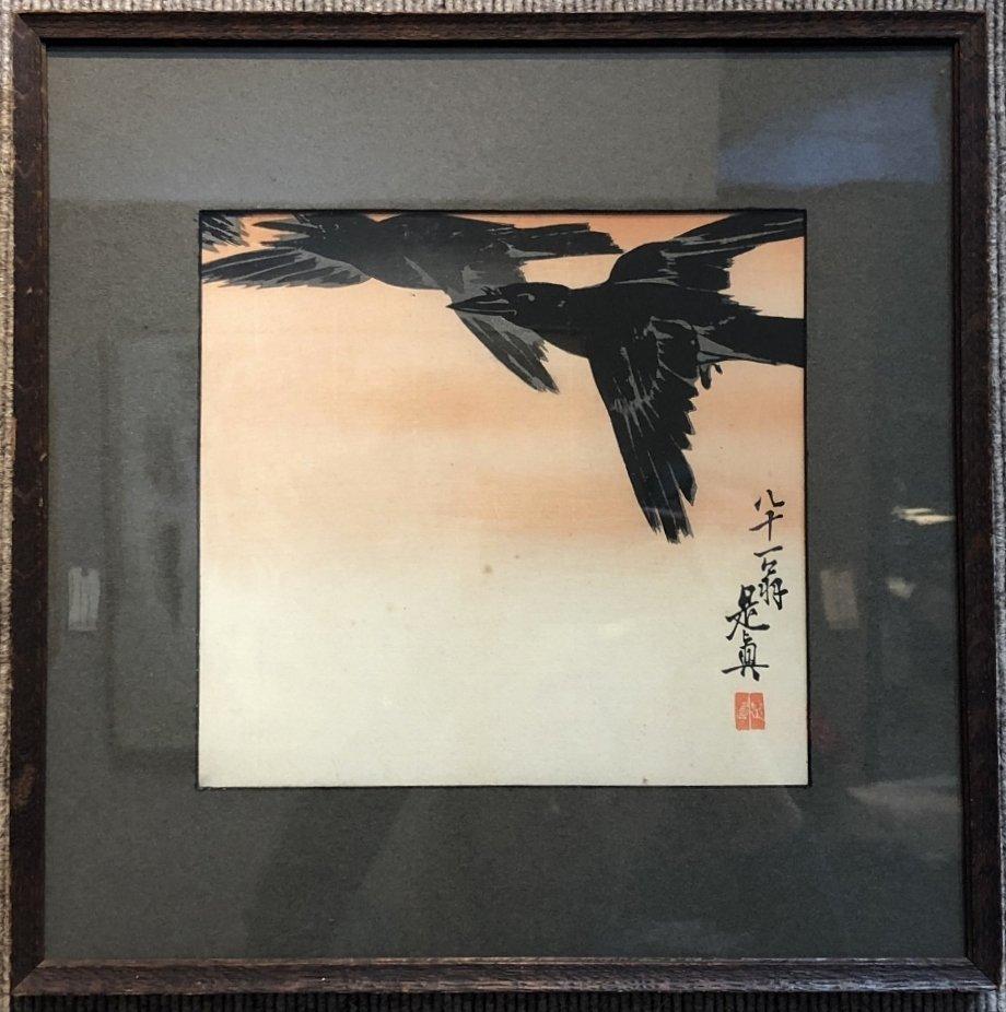 Crows in Flight,Japanese print,Shibata Zeshin 1887