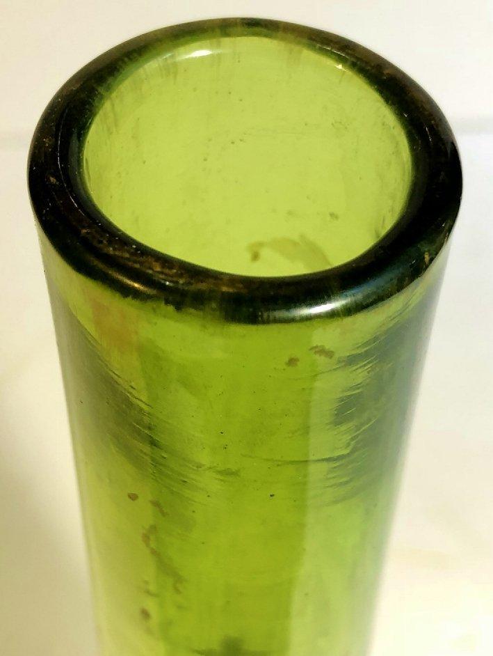 Galle enameled green crystal vase, c.1880 - 5
