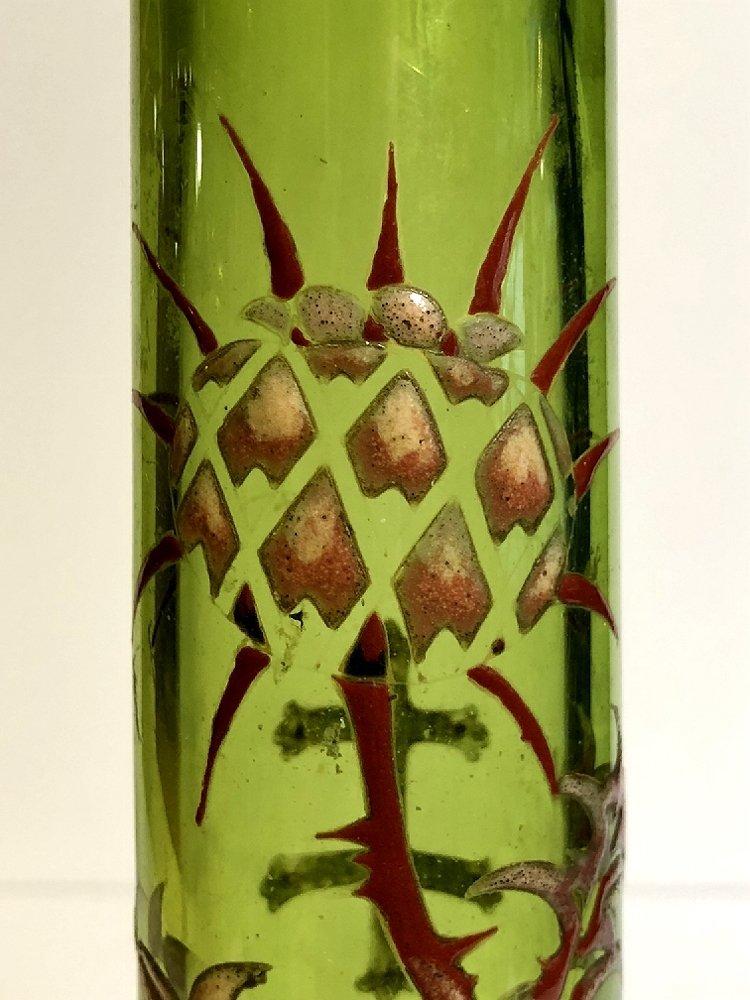 Galle enameled green crystal vase, c.1880 - 6