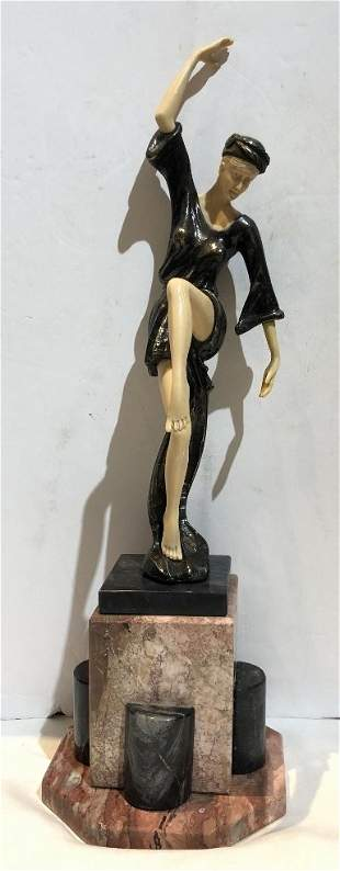 Art Deco style dancing figurine with faux ivory c1965