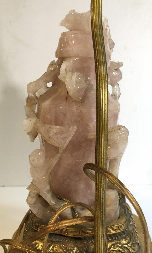 Chinese rose quartz lamp, as-is, c.1925 - 10