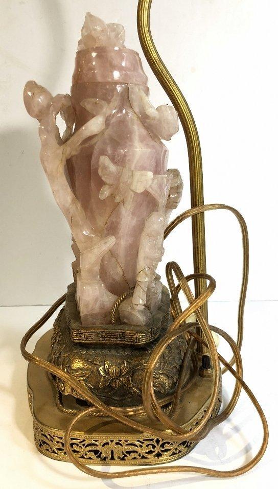 Chinese rose quartz lamp, as-is, c.1925 - 8