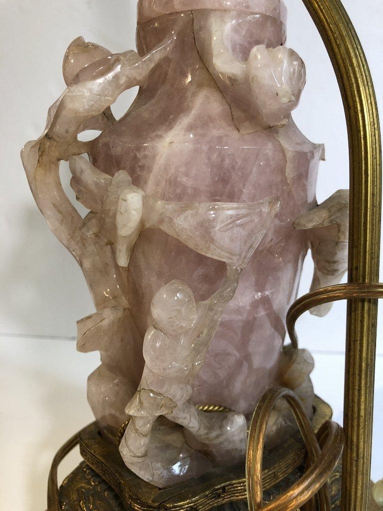 Chinese rose quartz lamp, as-is, c.1925 - 9