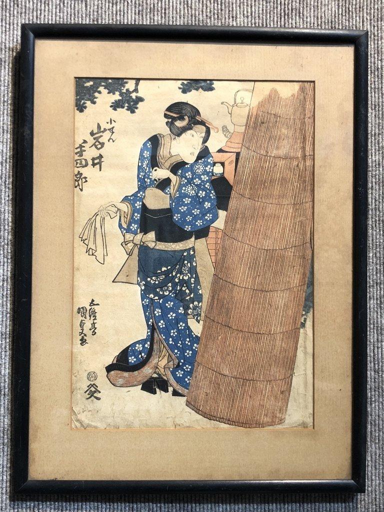 Japanese print, Geisha with teapot, c.1875