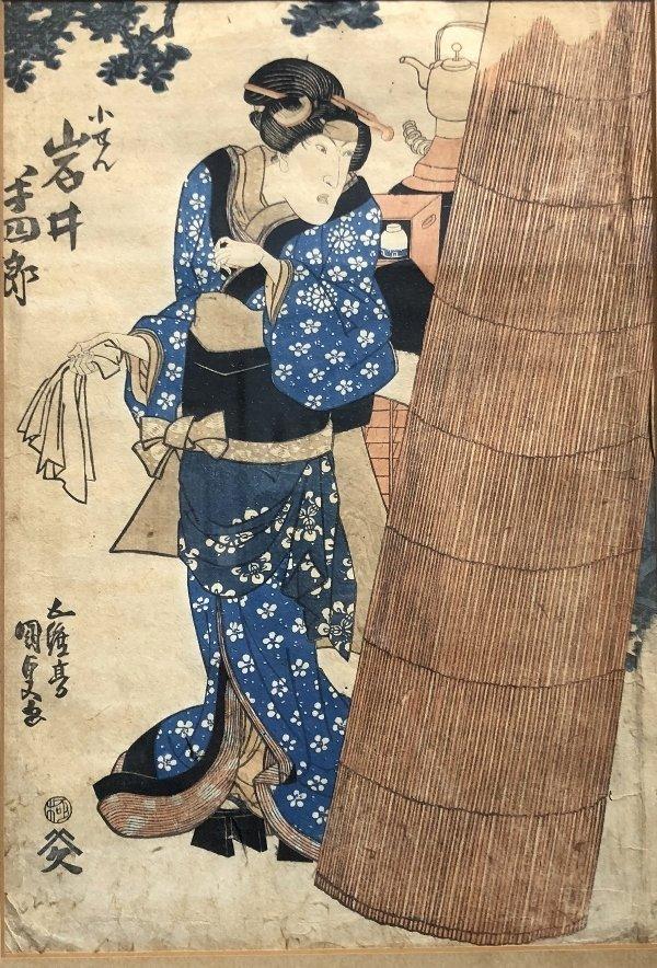 Japanese print, Geisha with teapot, c.1875 - 4