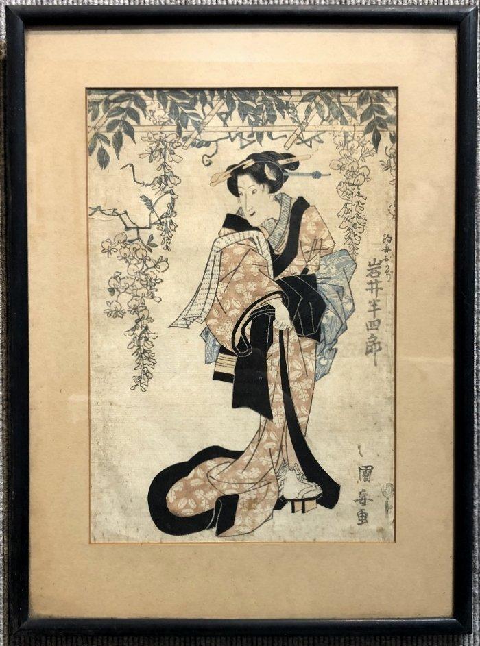 Japanese print, Geisha, veranda flowers, c.1880