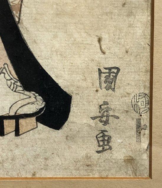 Japanese print, Geisha, veranda flowers, c.1880 - 2