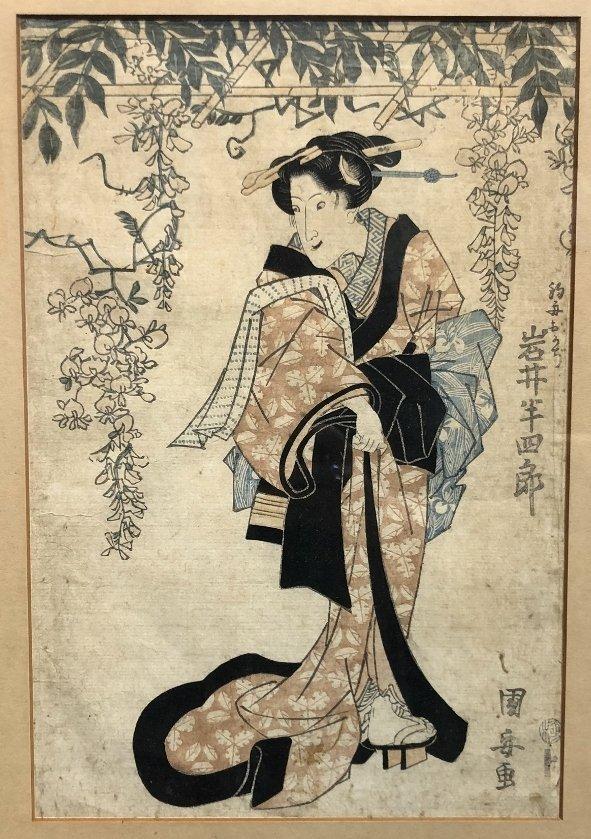 Japanese print, Geisha, veranda flowers, c.1880 - 4