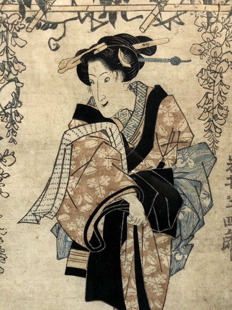Japanese print, Geisha, veranda flowers, c.1880 - 5