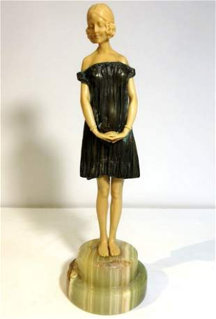 Art Deco figurine of coquette faux ivory c1965