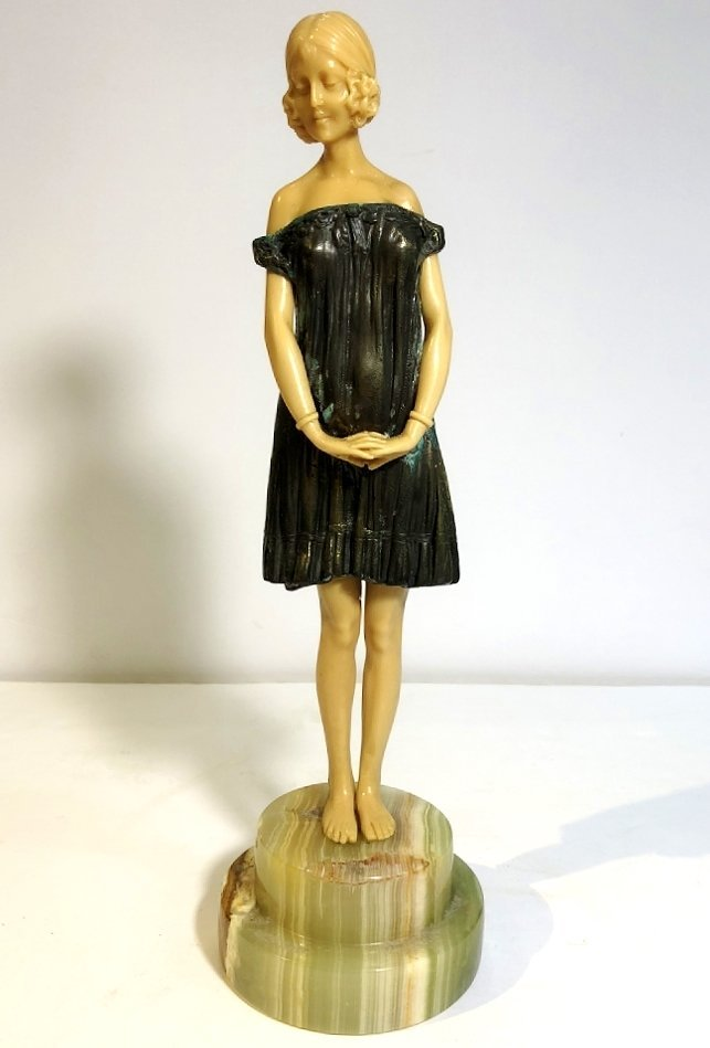 Art Deco figurine of coquette, faux ivory, c.1965