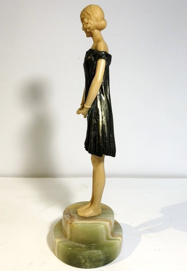 Art Deco figurine of coquette, faux ivory, c.1965 - 2