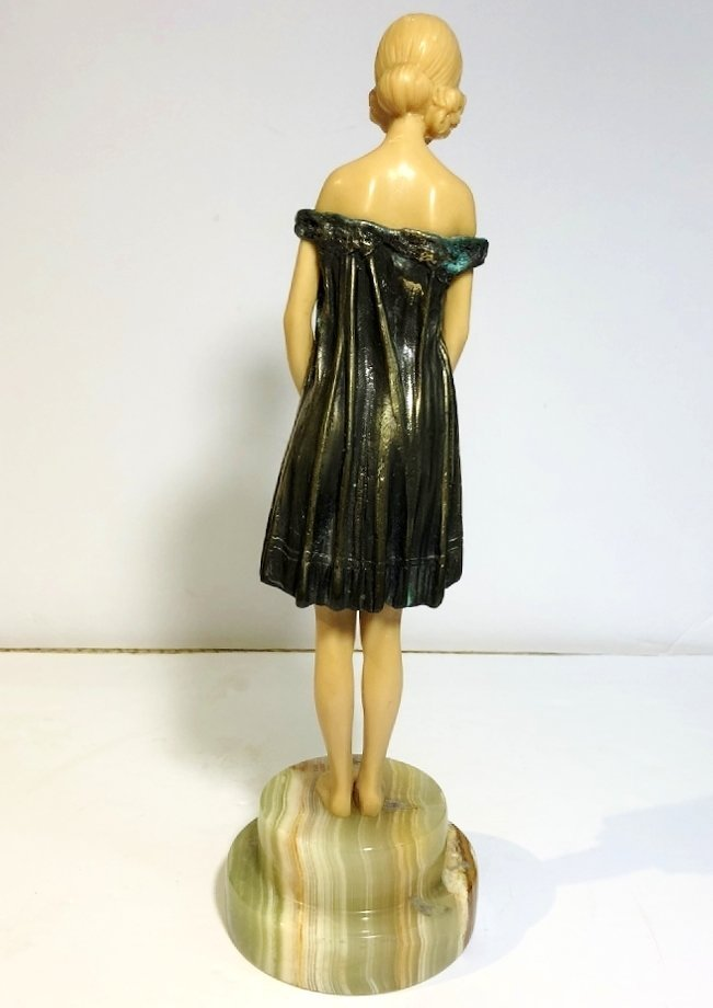 Art Deco figurine of coquette, faux ivory, c.1965 - 3