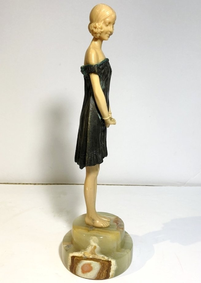 Art Deco figurine of coquette, faux ivory, c.1965 - 4