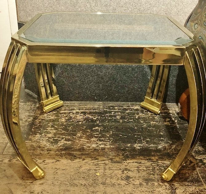 Pair of metal and glass modern tables, c.1975 - 3