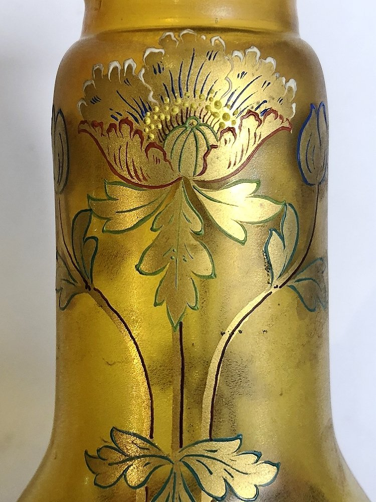 Art glass vase, painted gold flowers, c.1900 - 5