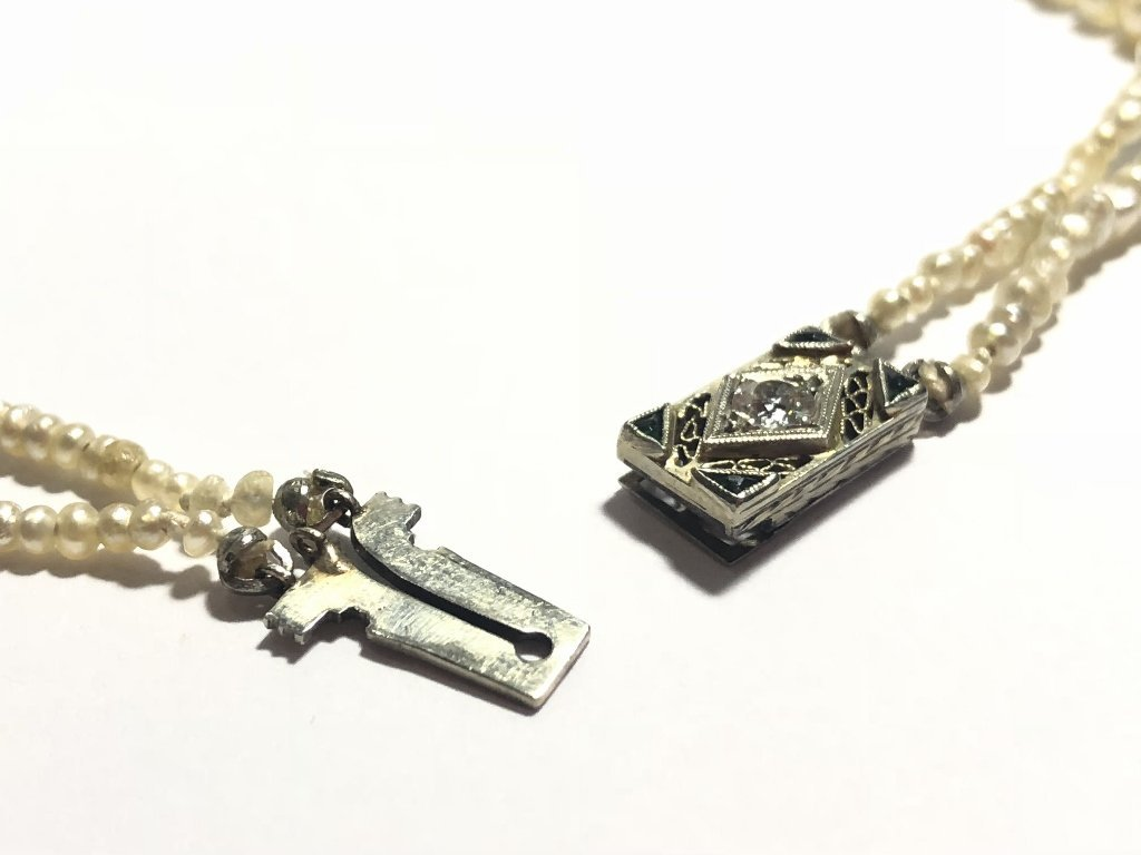 Strand of pearls with antique diamond clasp - 5
