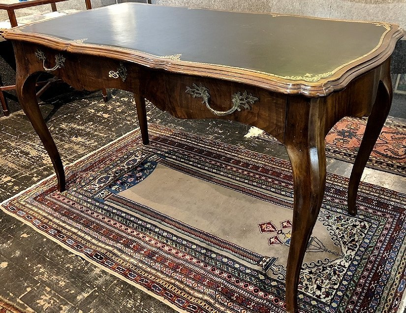 Louis XV style wood writing table, leather top, c.1950