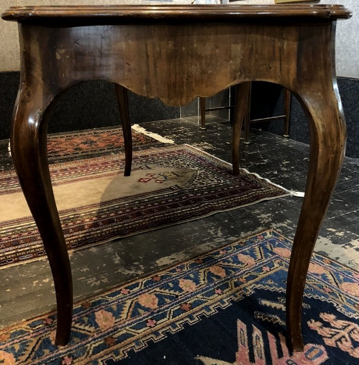 Louis XV style wood writing table, leather top, c.1950 - 5