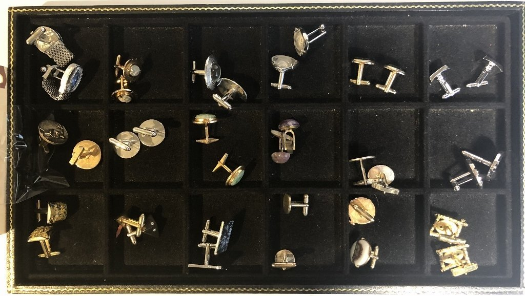 18 pairs of cufflinks,gold silver and costume