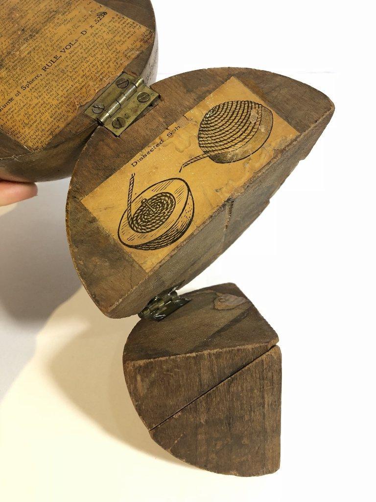 Old wood sphere, missing one corner - 5