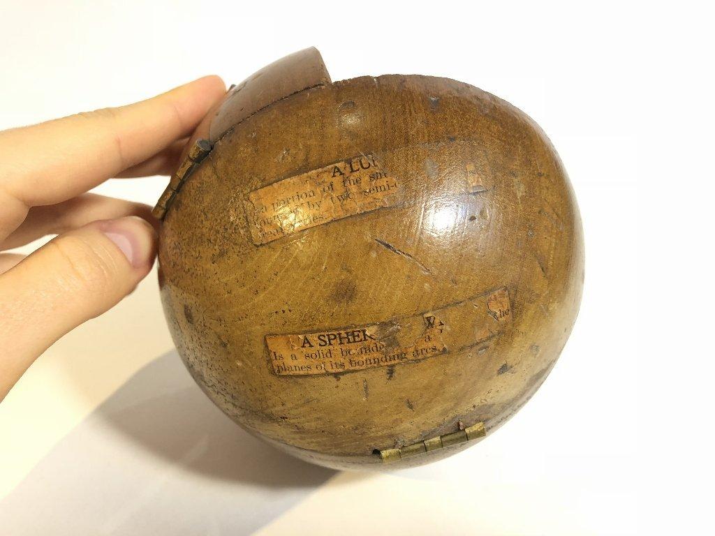 Old wood sphere, missing one corner - 7