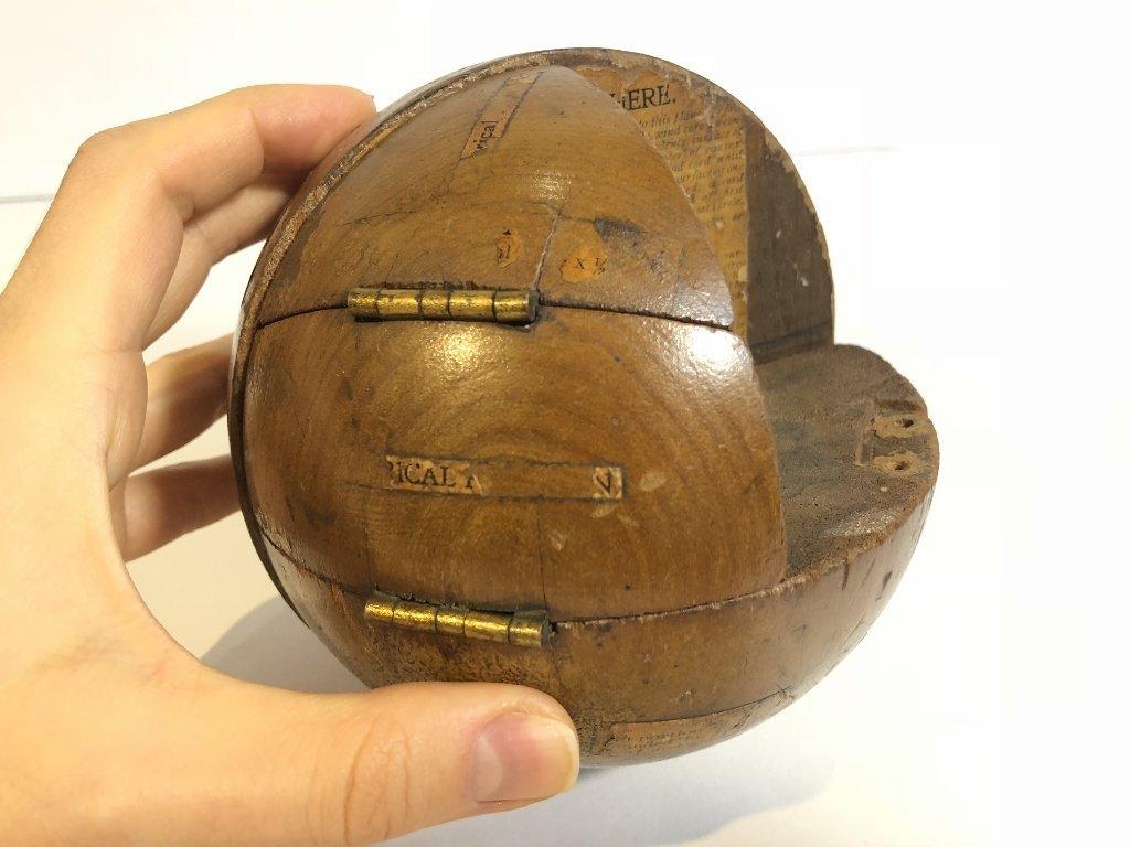 Old wood sphere, missing one corner - 8