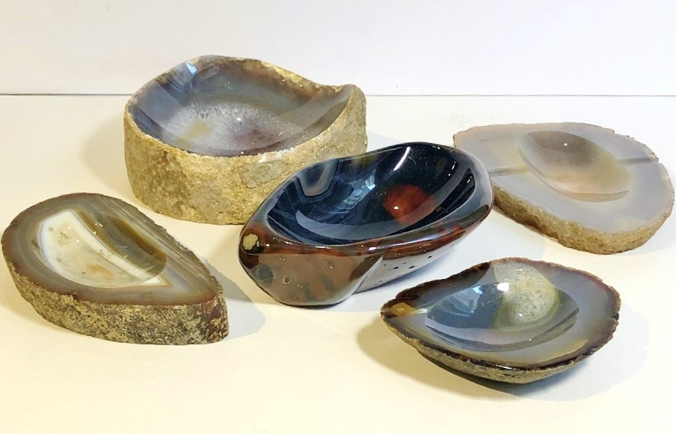 Natural stone ashtrays (five), circa 1970