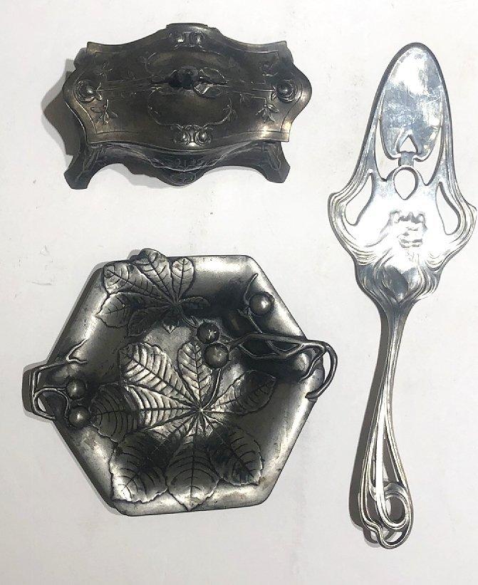Three pieces of Art Nouveau metalwork,c.1905 - 2