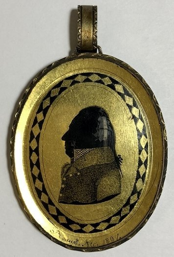 Hair mourning pendant w/French signature, dated 1807