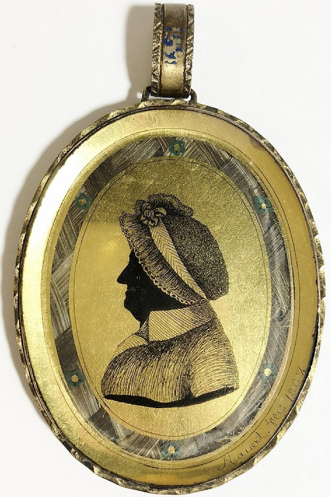 Hair mourning pendant w/French signature, dated 1807 - 5