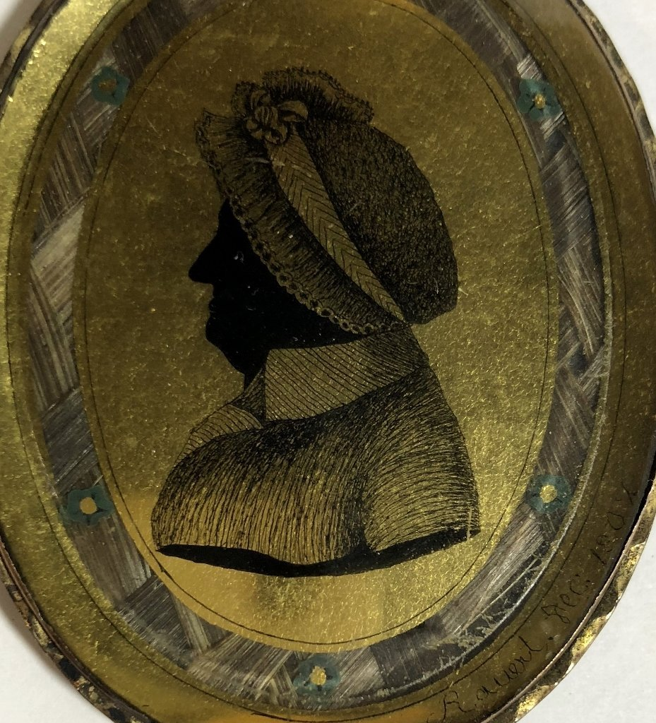 Hair mourning pendant w/French signature, dated 1807 - 6