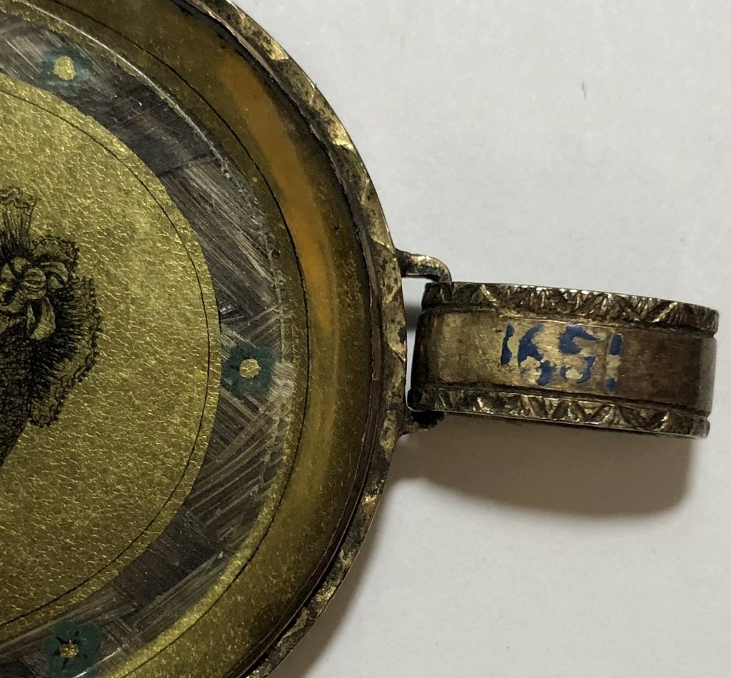 Hair mourning pendant w/French signature, dated 1807 - 8